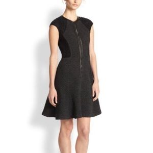 Rebecca Taylor Black Zip Front Lace Silk Dress